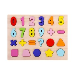 Wooden inlay puzzle sums 0-9