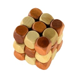 3D wooden cube snake puzzle